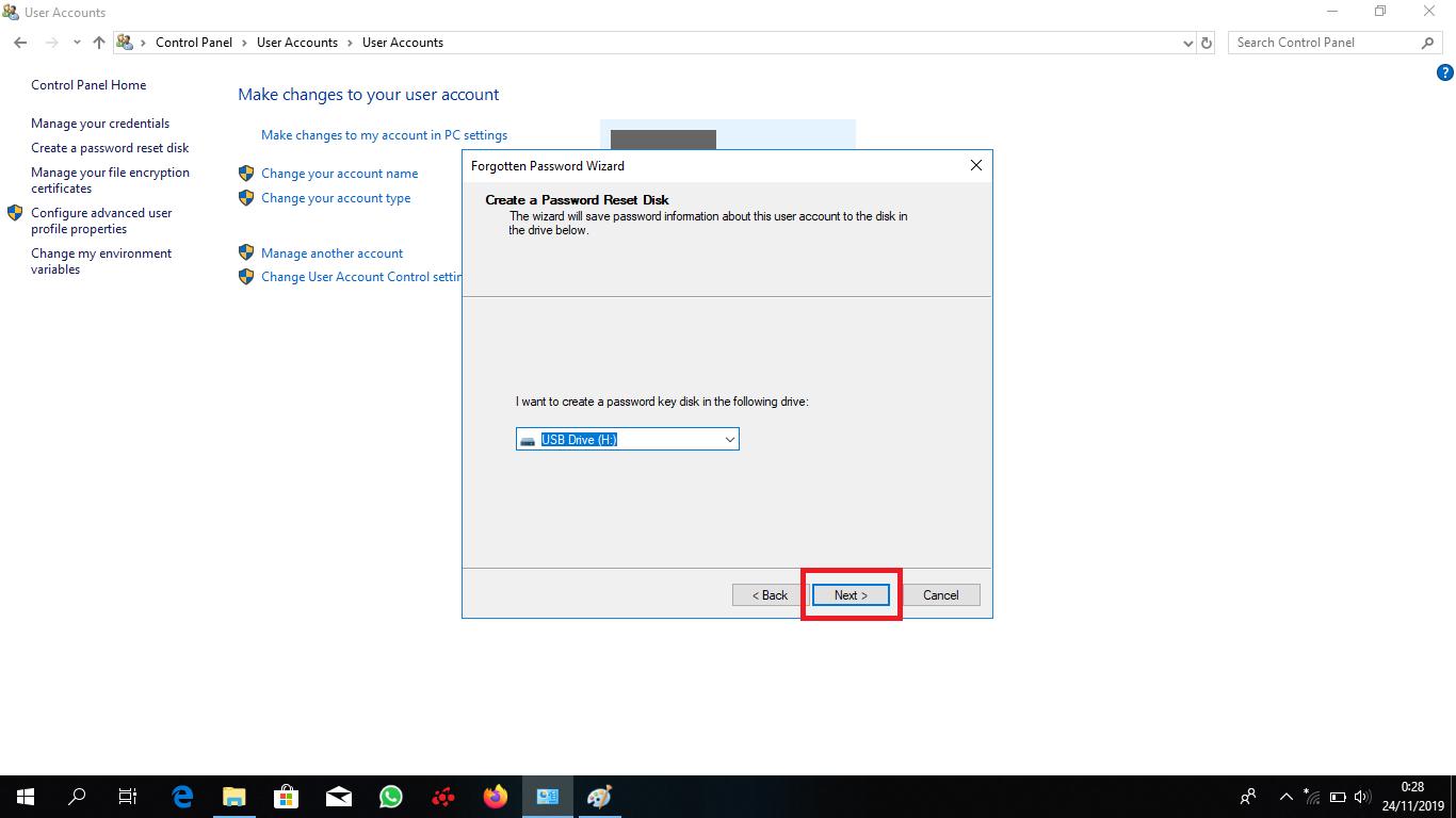Pilih Flashdisk untuk penyimpanan password recovery