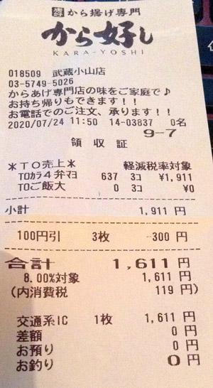 から好し 武蔵小山店 2020/7/24 のレシート