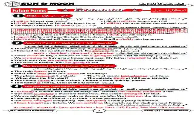 مذكرة قواعد اللغة الانجليزية للصف الثالث الاعدادى الترم الثانى 2020 من سلسلة شمس وقمر موقع درس انجليزي ملزمة جرامر انجليزي تالتة اعدادى ترم ثانى 2020