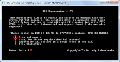 fix bad sector with hdd regenerator