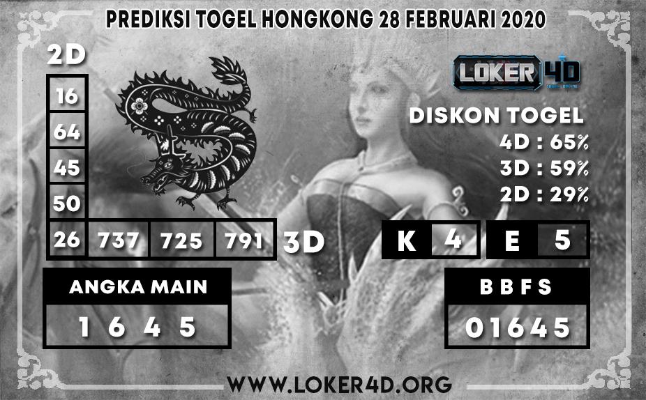 PREDIKSI TOGEL HONGKONG LOKER4D 28 FEBRUARI 2020