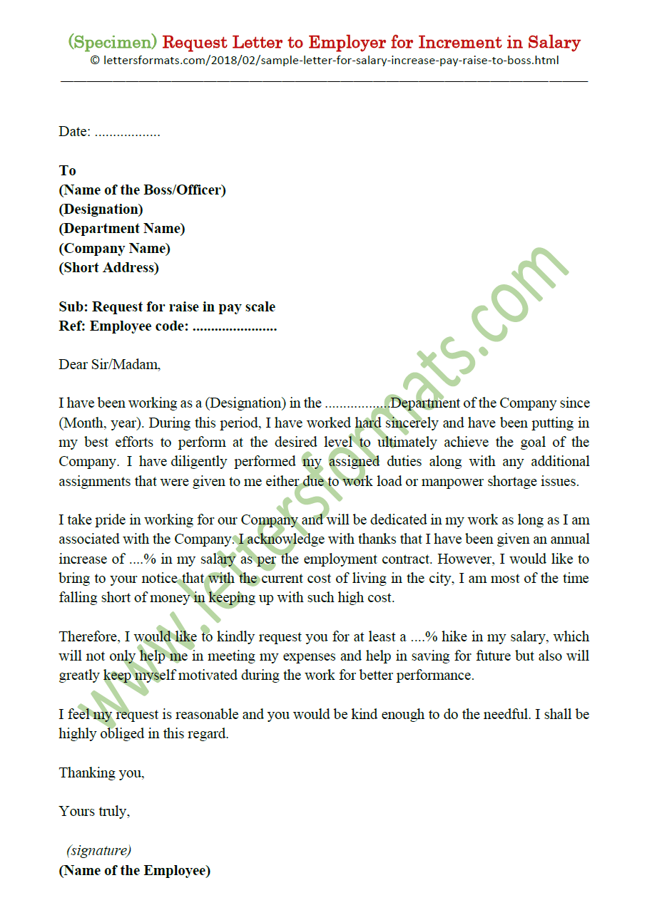 Request Letter For Salary Increase Pay Raise To Boss