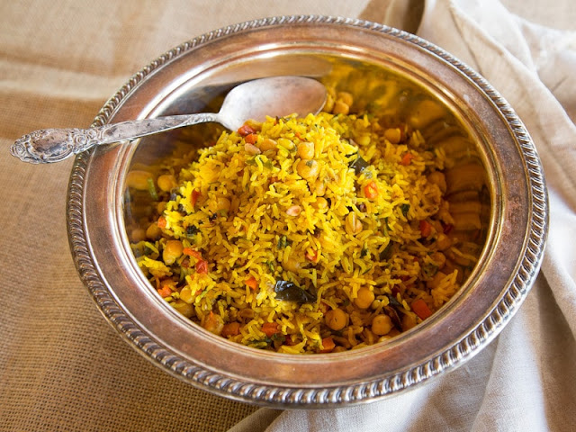 middle eastern roasted vegetable rice in a serving dish