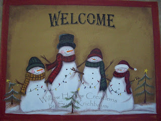 Willow Hollow Creations Whimsy Snowman Family Floor Cloth