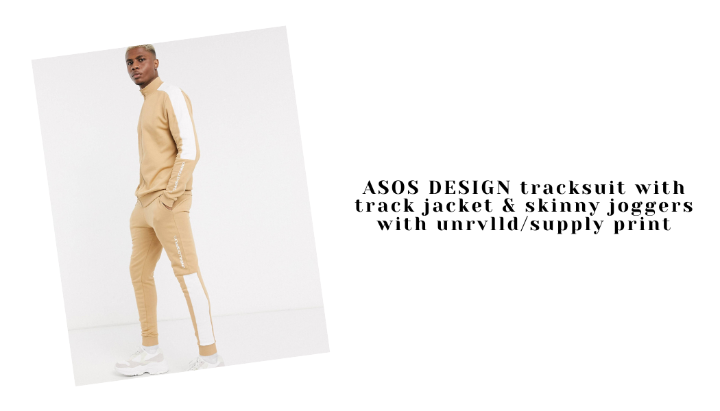 ASOS DESIGN tracksuit with track jacket & skinny joggers with unrvlld/supply print