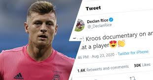 Kroos respond to West Ham midfielder Declan Rice post on twitter praising him