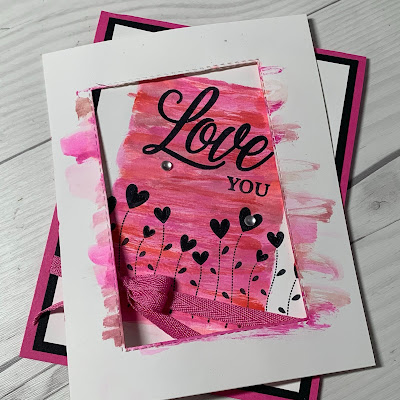 Frame used to create a watercolor background for a Valentine Card