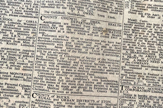 A close up of a job advert for women to apply for an admin assistant post from the Times April 1951