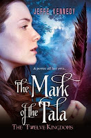 book cover for THE MARK OF THE TALA, side profile of Ami as she stares at a black feather