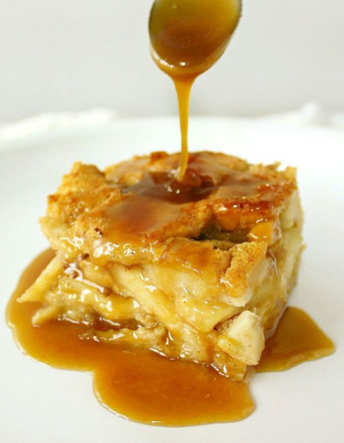 APPLE RUM BREAD PUDDING  WITH BUTTERSCOTCH RUM SAUCE