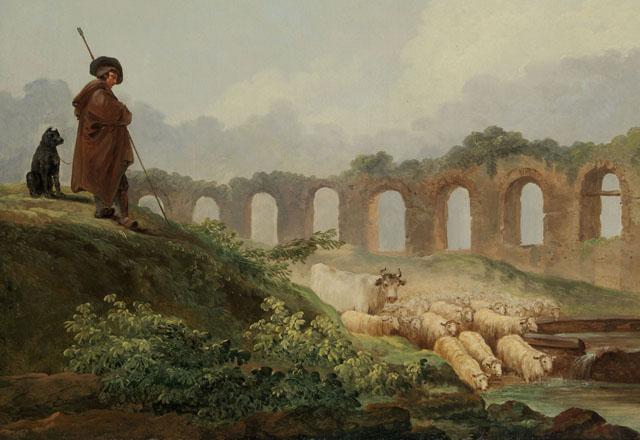 Hubert Robert : Aqueduc en ruines (détail) MET