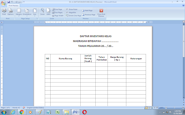 Download format daftar inventaris kelas