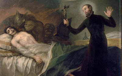 An old painting showing a Demonic possession.
