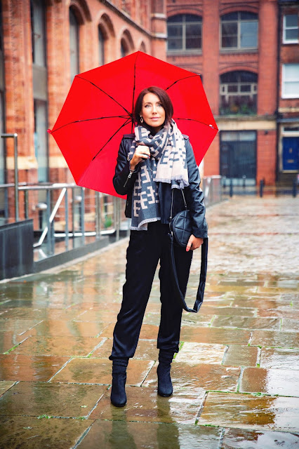 woman in rain with red umbrella