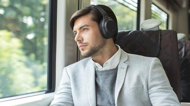 Men listening to music while travelling in train