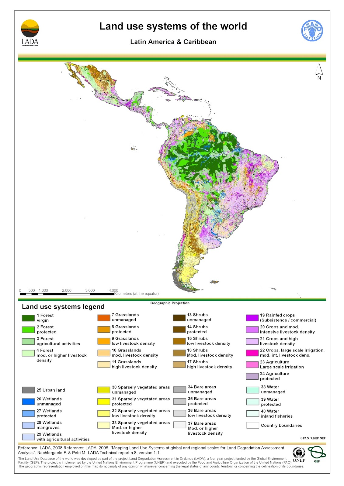 Land use map: South America