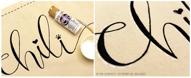 white DecoArt paint, hand lettering, personalized doggie bag craft