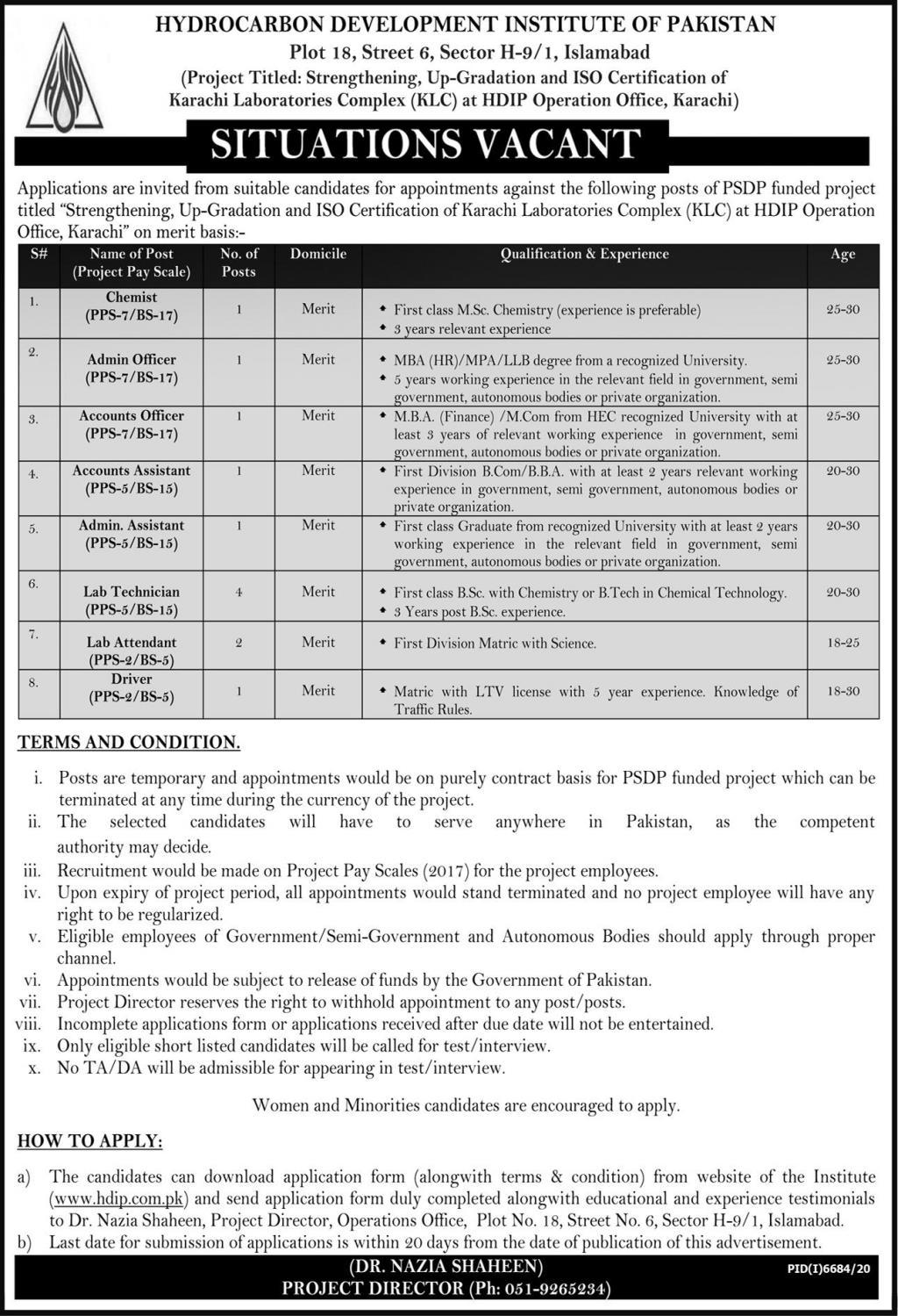 Latest Hydrocarbon Development Institute of Pakistan HDIP Jobs 2021