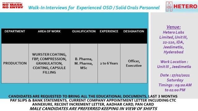 Hetero Labs | Walk-in interview for Production on 27th Feb 2021