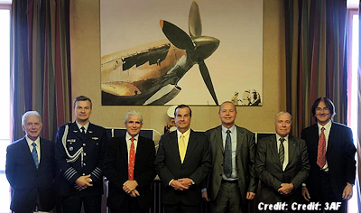 October 28, 2014: from left to right: Paul Kuentzmann, Colonel Jorquera (attache and air defense, Embassy of Chile), Pierre Bescond, General Bermudez (Director of CEFAA), Luke Dini, Alain Boudier, François Praise