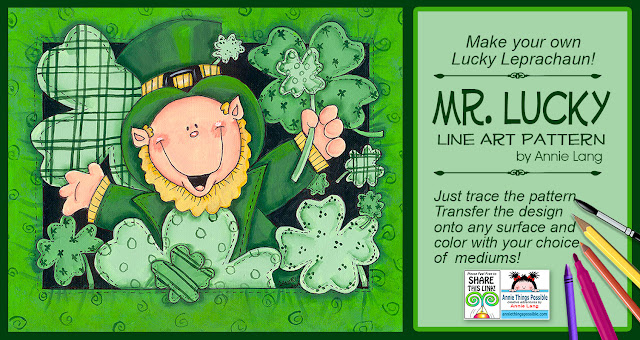 Download Annie Lang's FREE line art pattern to make this lucky leprechaun character because Annie Things Possible.