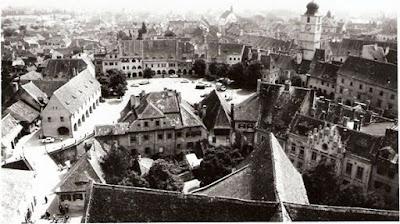 Piața Huet și Piața Mică văzute din Turnul Bisericii evanghelice la 1929