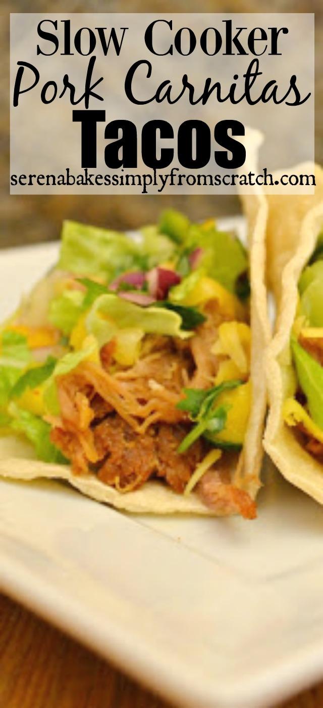 Slow Cooker Pork Carnitas Tacos! Sooo good! serenabakessimplyfromscratch.com