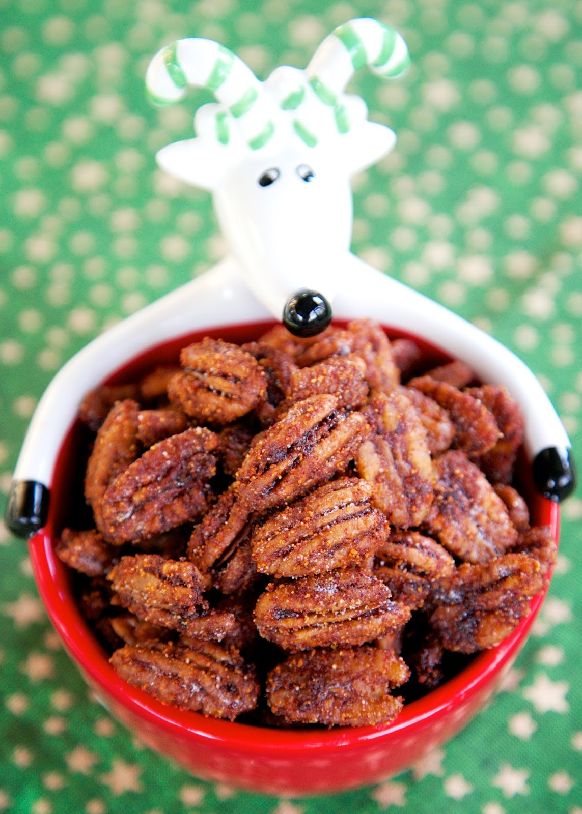 Sweet & Spicy Pecans - seriously delicious!!! Made these for a holiday party and they were gone in a flash! Everyone asked for the recipe! Pecans, water, sugar, chili powder, cayenne pepper. I always double or triple the recipe and there are never any leftovers! Great for holiday gifts!