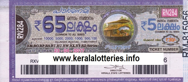 Live Kerala lottery result of Pournami (RN-284) on 23 April 2017