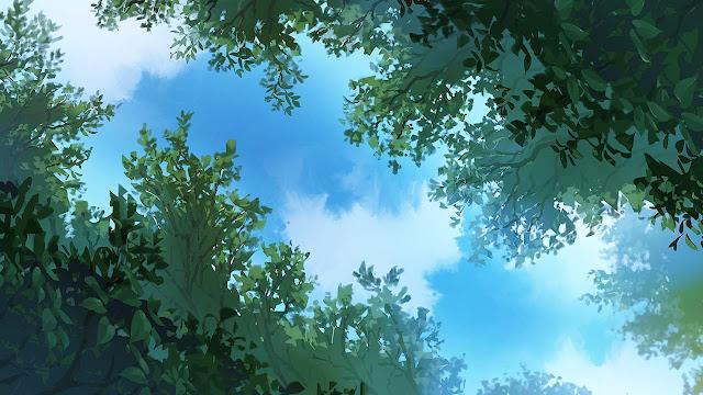 Sky View Through Trees (Anime Background)