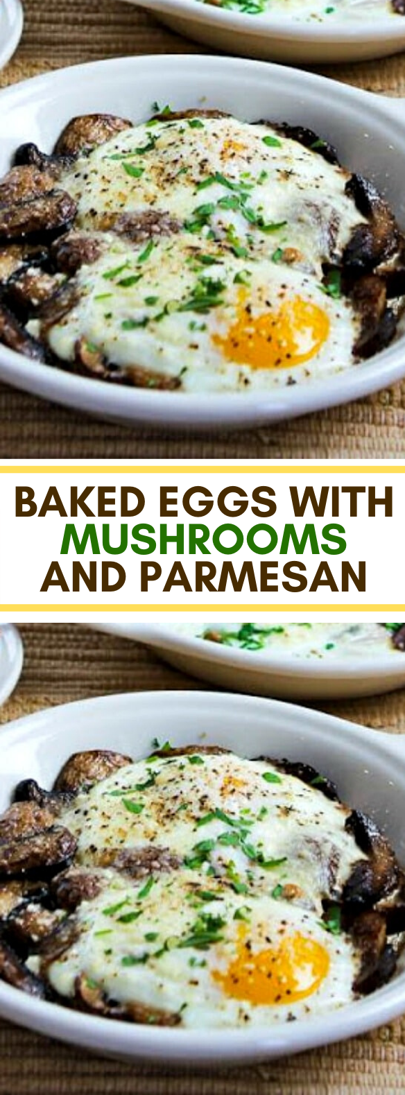 BAKED EGGS WITH MUSHROOMS AND PARMESAN #ketofriendly #lowcarb