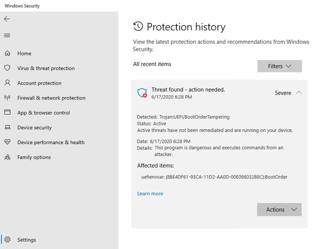 cronologia della sicurezza di windows 10