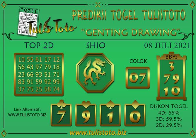 Prediksi Togel GENTING DRAWING TULISTOTO 08 JULI 2021