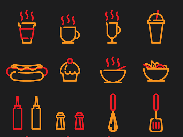 Download Cafe and Street Food Icon Set Free