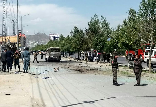 Image Attribute: Kabul bus bombing on June 3, 2019. The bus was carrying employees of the Independent Administrative Reform and Civil Service Commission/ Source: Rahmat Gul/AP