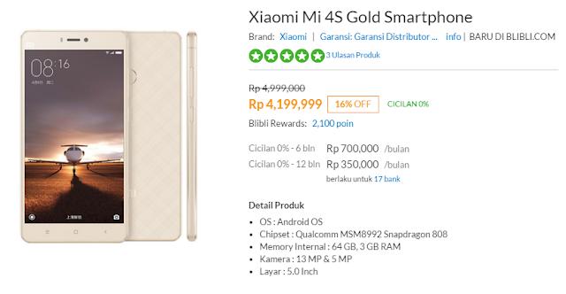 Xiaomi Mi 4s sudah tersedia di pasar Indonesia dengan harga 4,4 juta