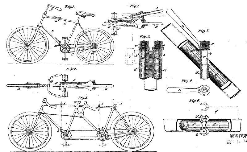 Gambar sepeda temuan Simon & Dussault, berisi gambar sepeda biasa, rangka dan bagian penghubung, hingga dapat dirangkai menjadi sepeda tandem.
