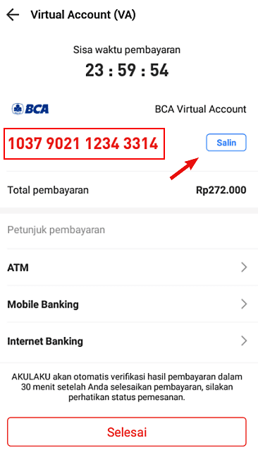 Kode bayar BCA virtual account