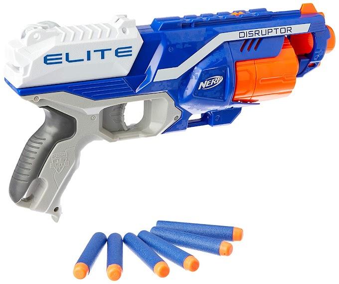 Best Buy on Price Disruptor Elite Blaster -- 6-Dart Rotating Drum, Slam Fire, Includes 6 Official Nerf Elite Da