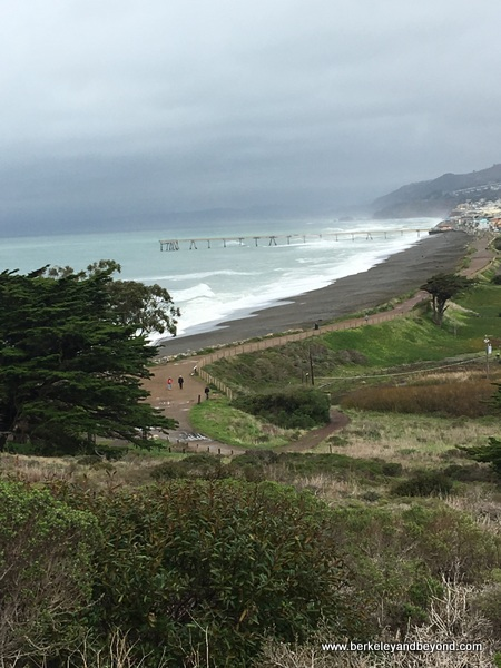 view of Sharp Park and pier from Mori Point trail in Pacifica, California