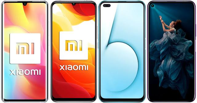 Xiaomi Mi Note 10 Lite vs Xiaomi Mi 10 Lite 5G vs Realme X50 5G vs Honor 20 Pro