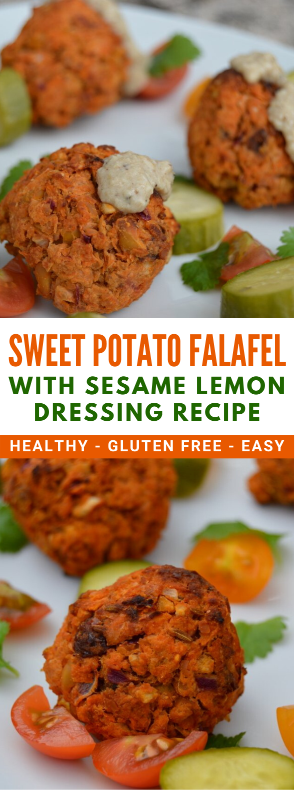SWEET POTATO FALAFEL WITH SESAME LEMON DRESSING RECIPE #healthydiet #veggies