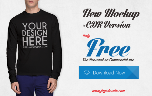 Download Gratis T-shirt Mockup Lengan Panjang CDR