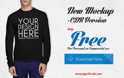 Download Gratis T-shirt Mockup Lengan Panjang CDR