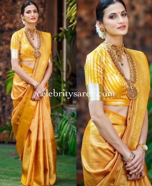 Shilpa Reddy Yellow Stripes Silk Saree