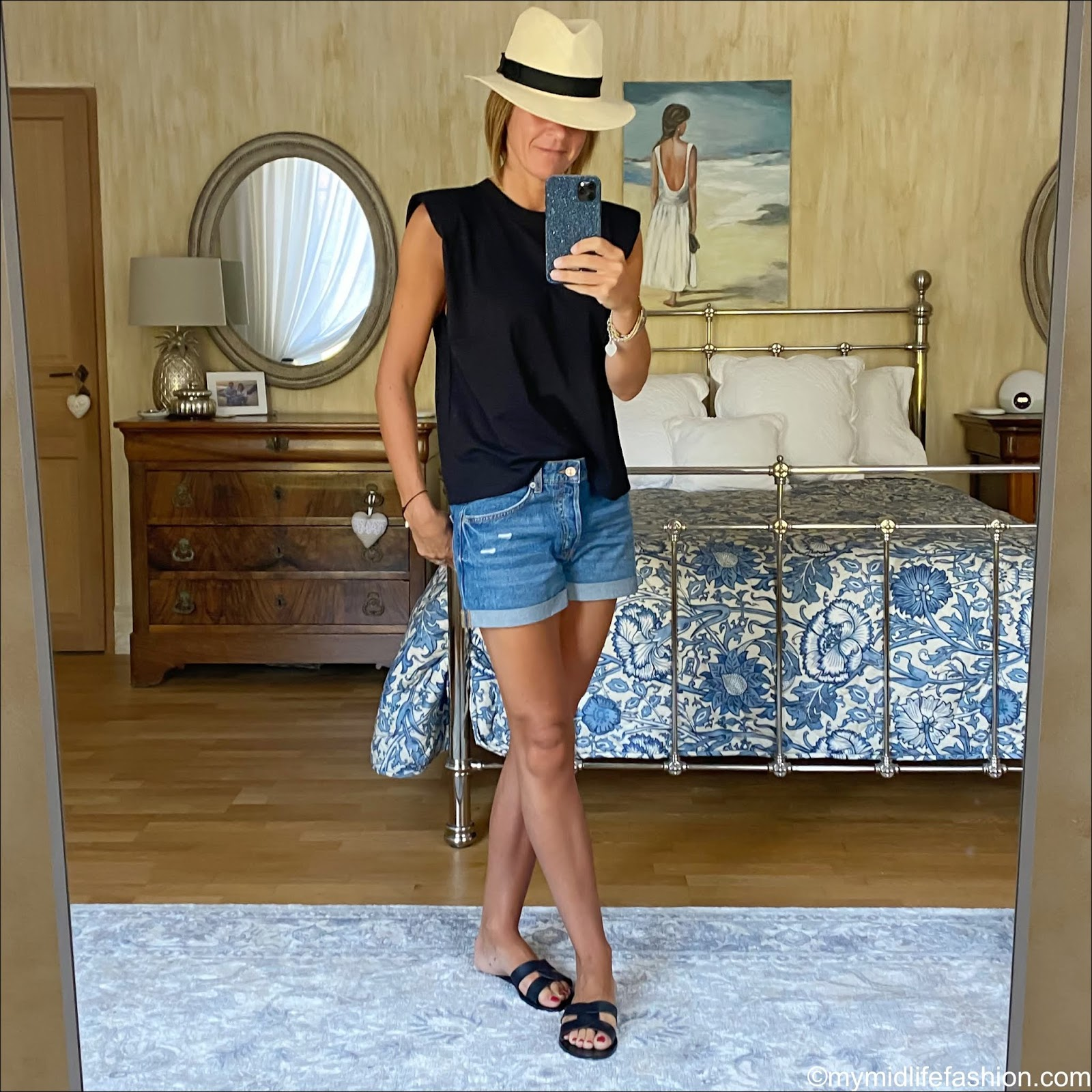 my midlife fashion, H&M Panama hat, zara t shirt with shoulder pads, H&M conscious denim shorts boyfriend, Ancient Greek desmos leather slides