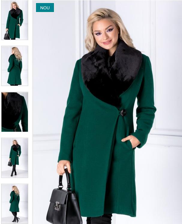 Palton dama elegant verde din blanita detasabila de iarna 2019