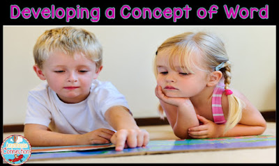 Are working on developing a concept of word with your kinders or firsties? This post explains the development step by step and more.