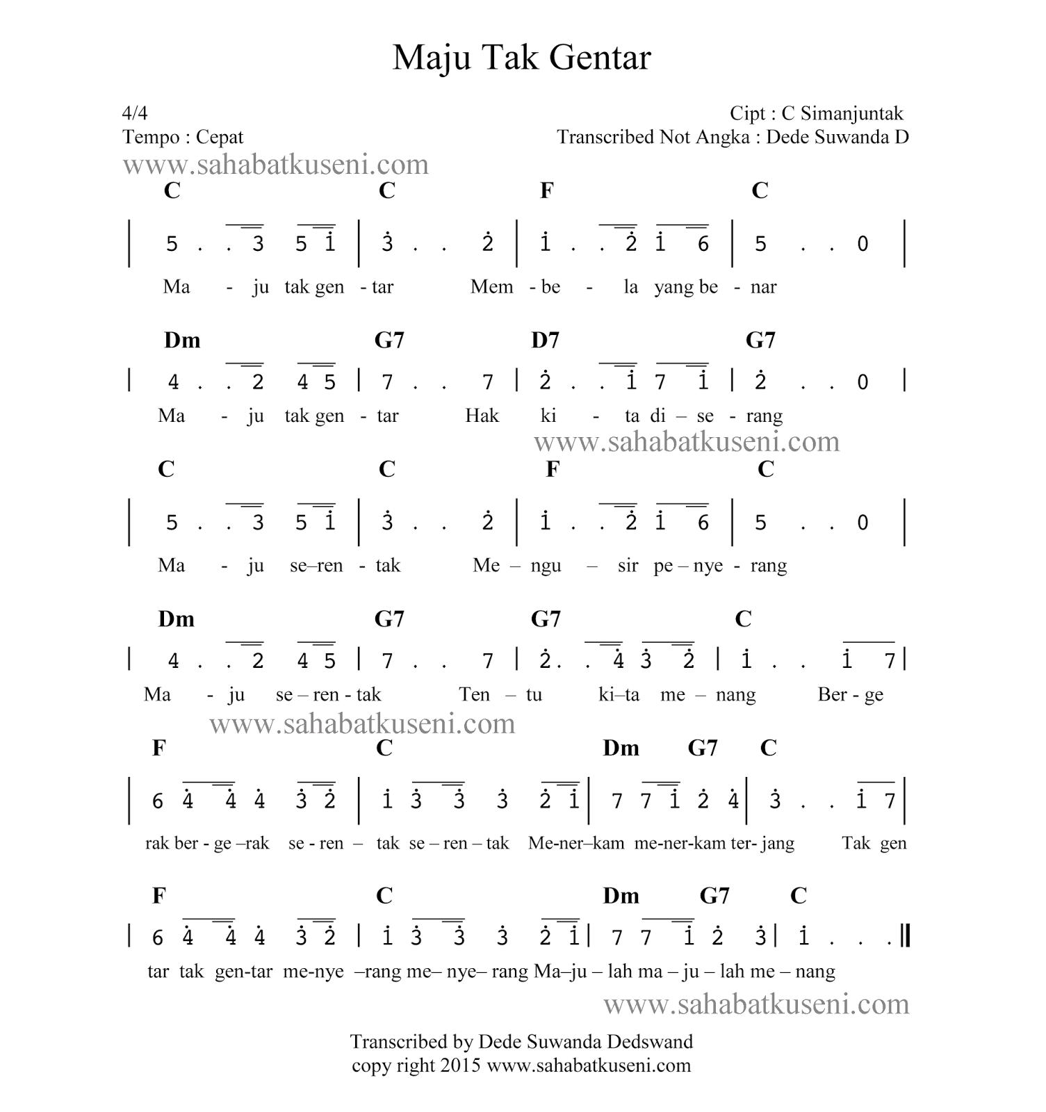not angka lagu maju tak gentar c simanjuntak
