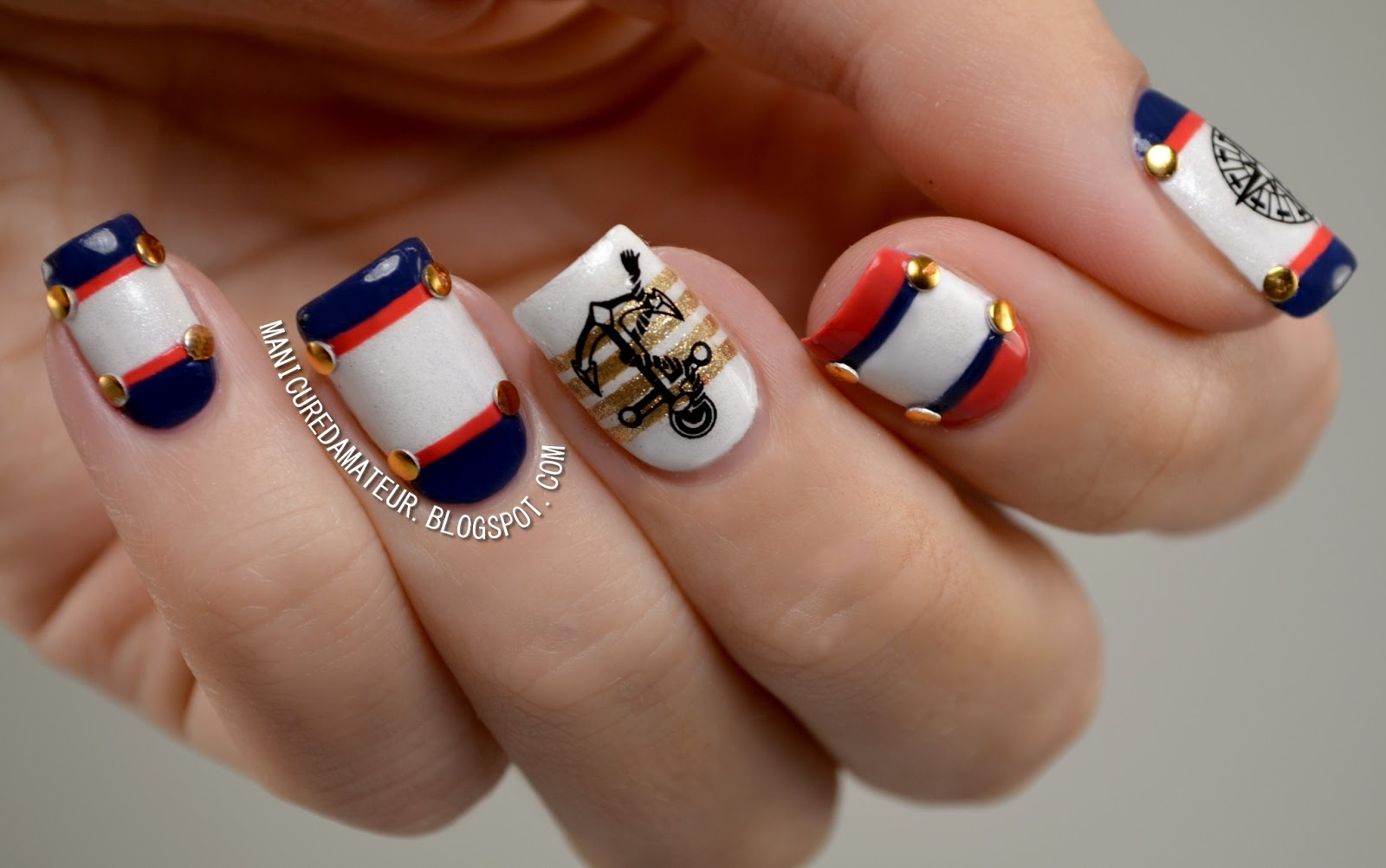 the manicured amateur nautical nail art featuring born